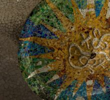 Stylized Sun - Antoni Gaudi Ceiling Medallion at Hypostyle Room in Park Guell - Right Horizontal Sticker