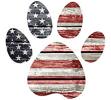 Dog Paw Print, American Flag Photographic Print