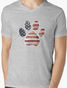 Dog Paw Print, American Flag Mens V-Neck T-Shirt