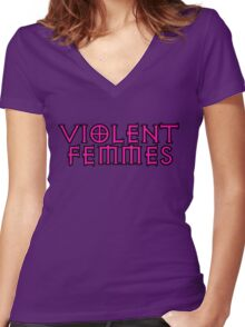 fuschia violent femmes Women's Fitted V-Neck T-Shirt