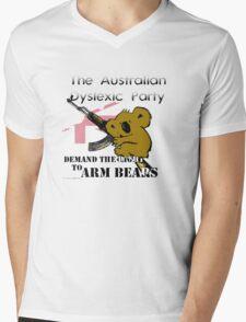 Australian Dyslexic Party, Demand The Right to Arm Bears Mens V-Neck T-Shirt
