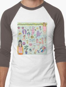I love colourful animal erasers  Men's Baseball ¾ T-Shirt