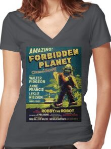 Vintage Sci-fi Movie Forbidden Planet, Robot Women's Fitted V-Neck T-Shirt