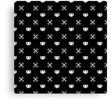 White Pixel Skull Pirate Canvas Print