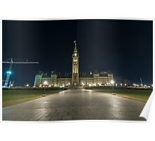 Canada's Parliament Buildings at night Poster