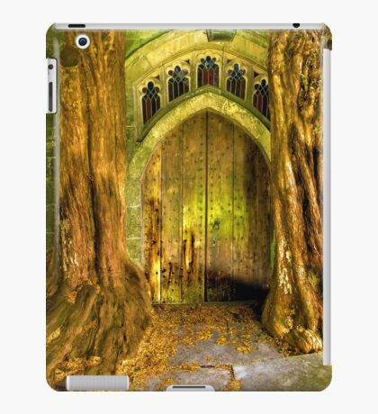 Yew Trees and North Door, St. Edwards Parish Church, Stow on the Wold, England iPad Case/Skin