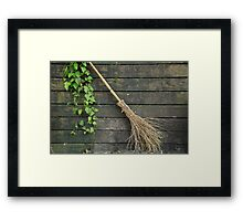 Witches broomstick Framed Print