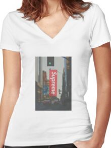 Supreme nyc phone case Women's Fitted V-Neck T-Shirt