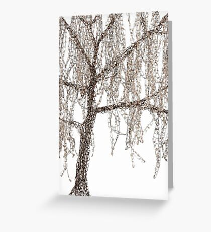 Winter Willow Tree - white Greeting Card