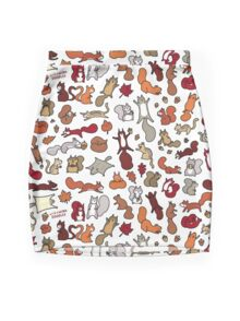 Squirrels in Fall Doodle Mini Skirt