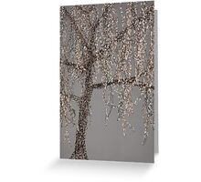Winter Willow Tree - grey Greeting Card