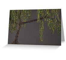 Spring Willow Tree - grey Greeting Card