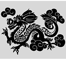Year of the Luck Dragon (Black Ink)  Photographic Print