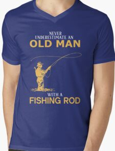 Never Underestimate An Old Man With A Fishing Rod Mens V-Neck T-Shirt