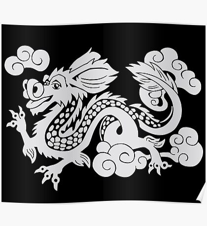 Year of the Luck Dragon (White Ink)  Poster