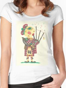 Scotchman playing bagpipes Women's Fitted Scoop T-Shirt