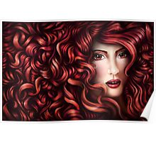 Wild Curly Red Hair Portrait Poster