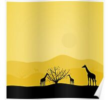 giraffes in Africa with a lone tree,vector illustration Poster