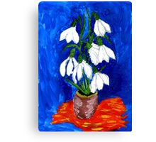Snowdrop Flowers Painting Canvas Print