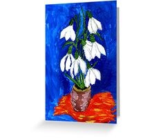 Snowdrop Flowers Painting Greeting Card