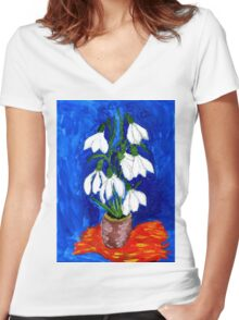 Snowdrop Flowers Painting Women's Fitted V-Neck T-Shirt