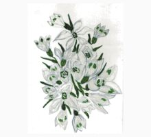Snowdrop Flowers Painting 2 One Piece - Long Sleeve