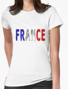 France Word With Flag Texture Womens Fitted T-Shirt