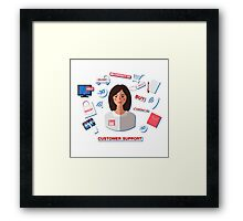 Customer Service Concept with Woman. Support Call Center. Framed Print
