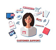 Customer Service Concept with Woman. Support Call Center. Photographic Print