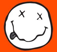 black white grunge emoji Kids Tee
