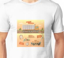 Delivery Service Concept. Worldwide Delivery Truck with Different Elements: Containers, Checklist; Map.  Unisex T-Shirt