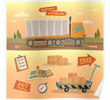 Delivery Service Concept. Worldwide Delivery Truck with Different Elements: Containers, Checklist; Map.  Poster