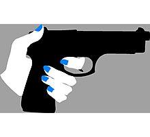 Woman's Hand on a Gun Photographic Print