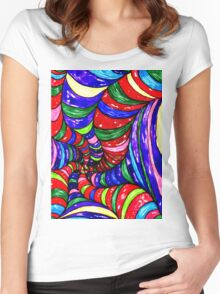 Stylized Art Background Women's Fitted Scoop T-Shirt