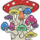 Giant Mushroom with Sprouts (multi color version) by Brett Gilbert