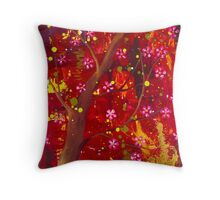 Under the cherry tree Throw Pillow
