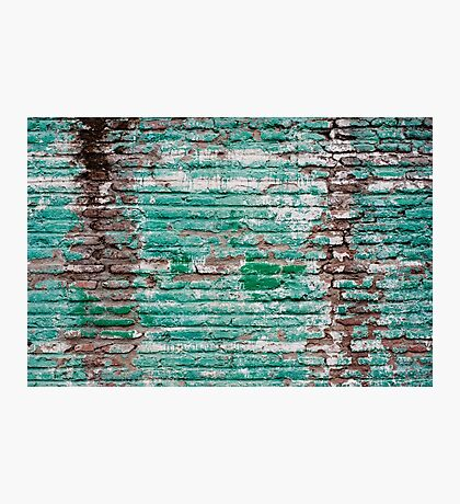 Green brick wall painted in the past Photographic Print