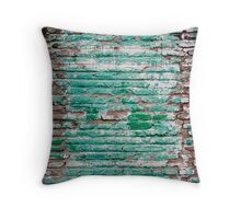 Green brick wall painted in the past Throw Pillow