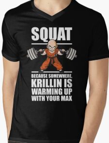 Krillin Is Warming Up With Your Max (Squat) Mens V-Neck T-Shirt