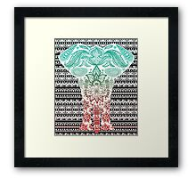 Colorful Red and Blue Ornate Floral Elephant Framed Print