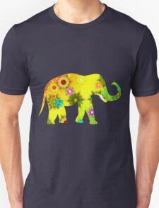 Colorful Orange and Blue Ornate Floral Elephant Unisex T-Shirt