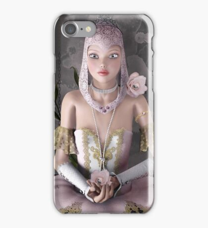 Surreal portrait of a beautiful ballerina with roses and jewels iPhone Case/Skin
