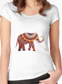 Colorful Orange and Black Ornate Floral Elephant Women's Fitted Scoop T-Shirt