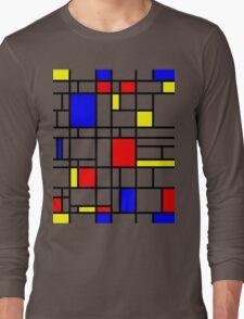 Modern Art Red Yellow Blue Grid Pattern Long Sleeve T-Shirt