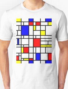 Modern Art Red Yellow Blue Grid Pattern T-Shirt
