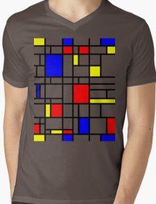 Modern Art Red Yellow Blue Grid Pattern Mens V-Neck T-Shirt