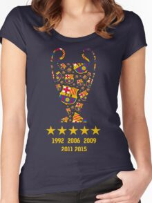 FC Barcelona - Champion League Winners Women's Fitted Scoop T-Shirt