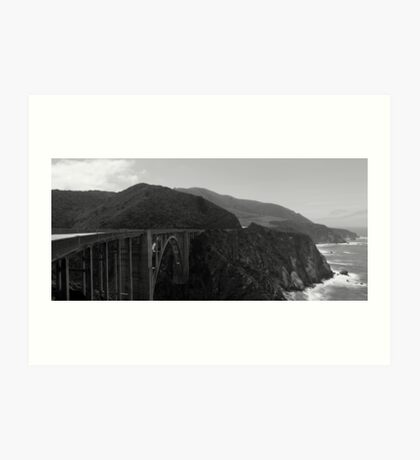 Bixby Bridge Big Sur Panorama BW Art Print
