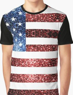 USA flag red & blue sparkles Graphic T-Shirt