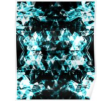Electrifying blue sparkly triangle flames Poster